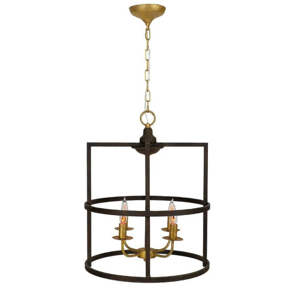Brown and gold lantern, iron light fixture for kitchen