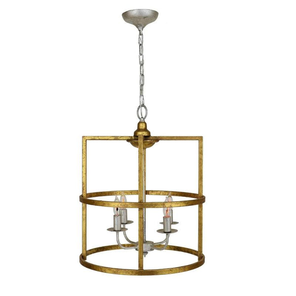 Louisino Gold Leaf 4 Light Pendant Lantern