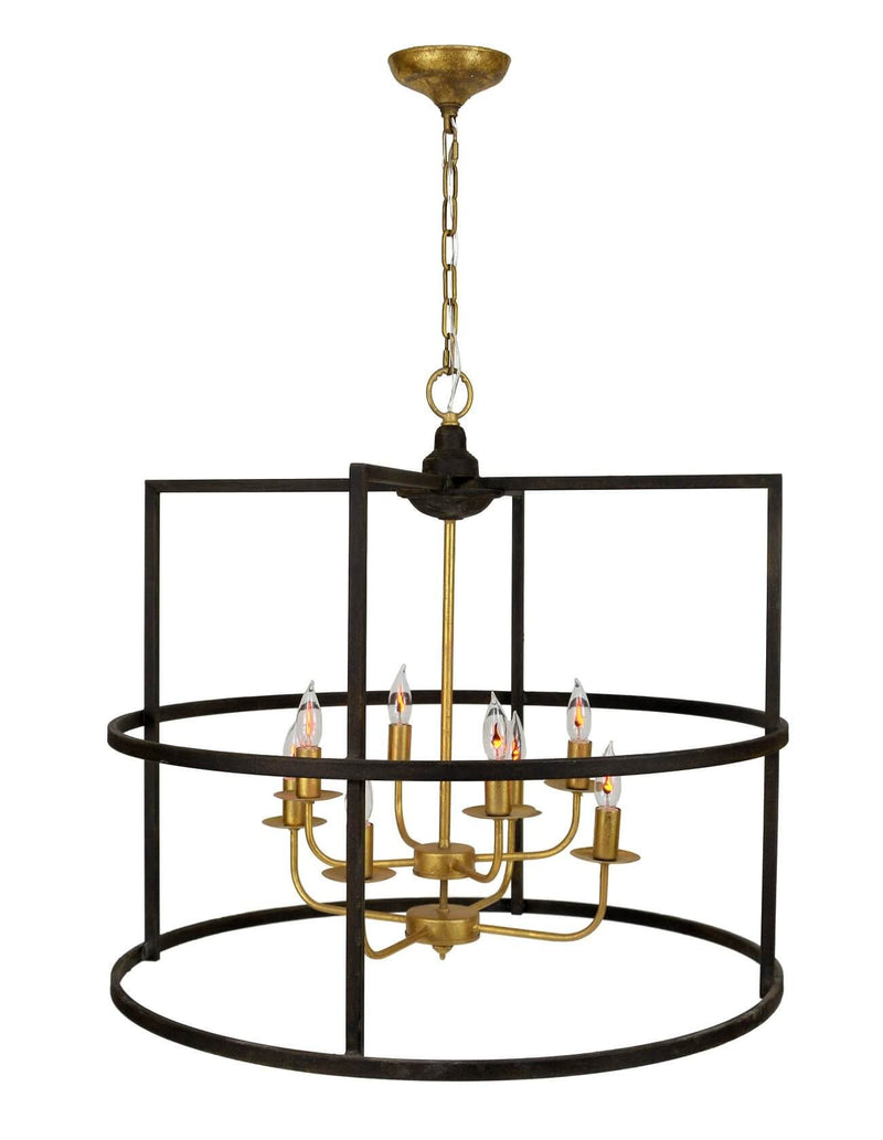 Central 8 Light Brown and Gold Lantern - Lillian Home