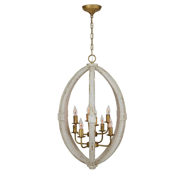 Egglon White and Gold 8 Light Lantern - Lillian Home