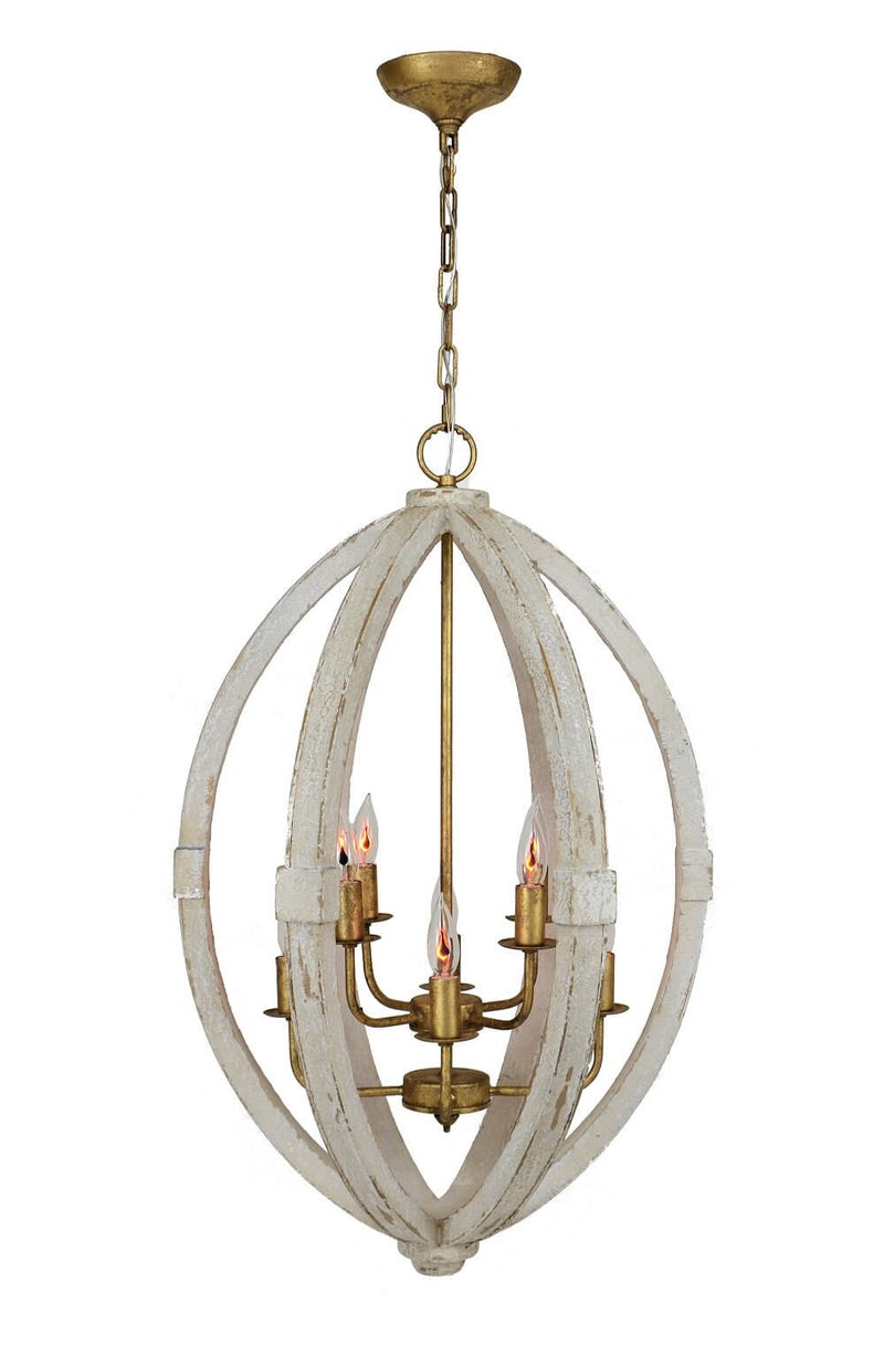 Egglon White And Gold 8 Light Lantern