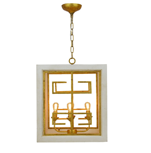 4 light white and gold finish lighting, wood and iron lantern