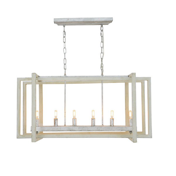 Rectangular shape kitchen island lighting, grey wood finish with silver leaf lantern