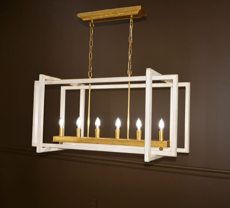 Sera 6 Light White and Gold Long Lantern - Lillian Home