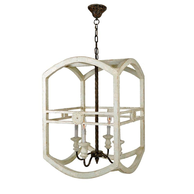 Chandler 4 Light Wooden Lantern - Lillian Home