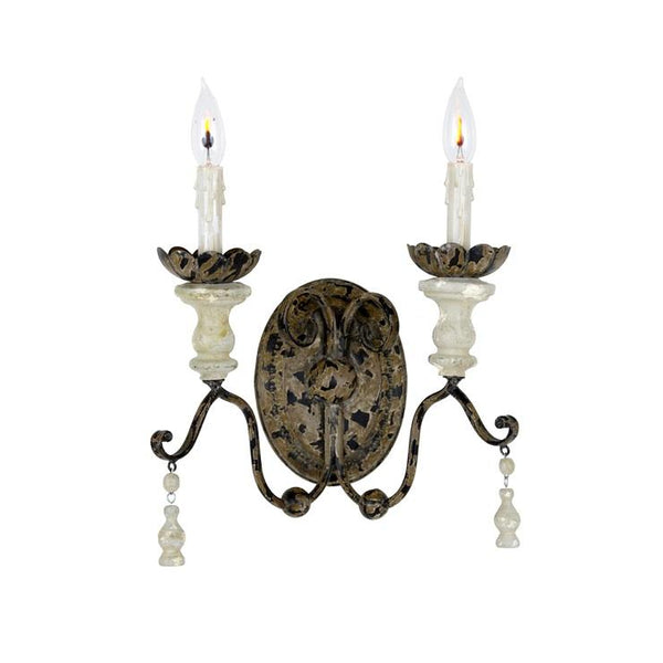 Marshall 2 Light Wood and Iron Sconce - Lillian Home