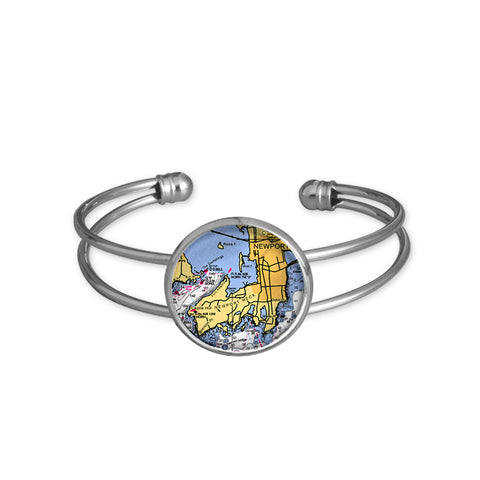 Newport Neck, RI - Nautical Chart Large Cuff-Style Bracelet