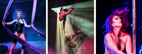 Photos of Shake, Rattle n' Pole Show: Erika on silks (John Lombardi), Double Jinx on trapeze (Feather Media), Shay Williamson on Pole (Alyssa Kristine Photography)
