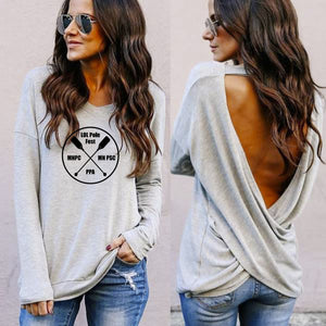 Low Sweep Open Back Long Sleeves w Quad Logo, Grey