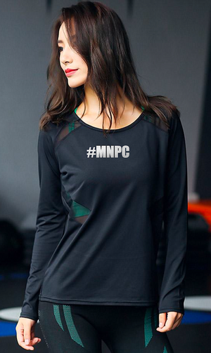 Open Back and Mesh Sides Long Sleeve w #MNPC, Black