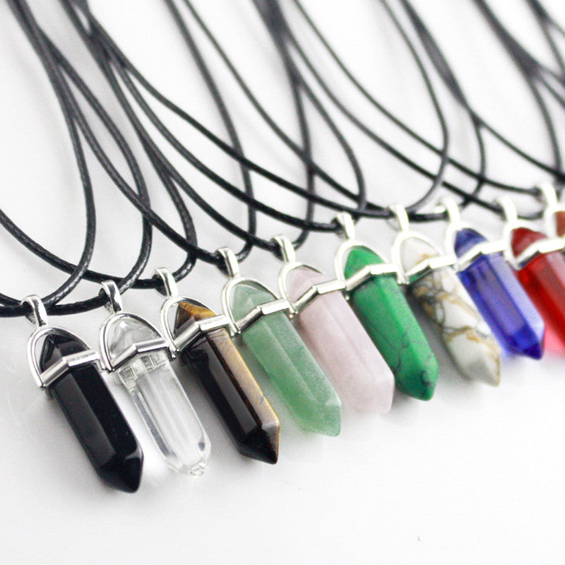 Hexagonal Multi Color Chakra and Natural Healing Crystal Necklace