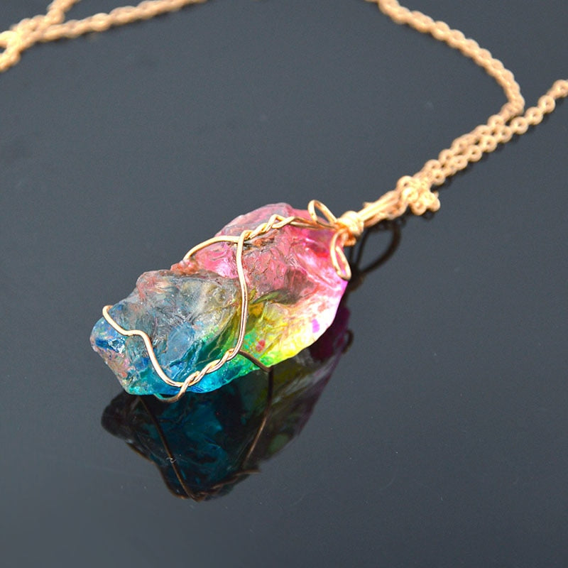 Rainbow Crystal Healing Chakra Necklace