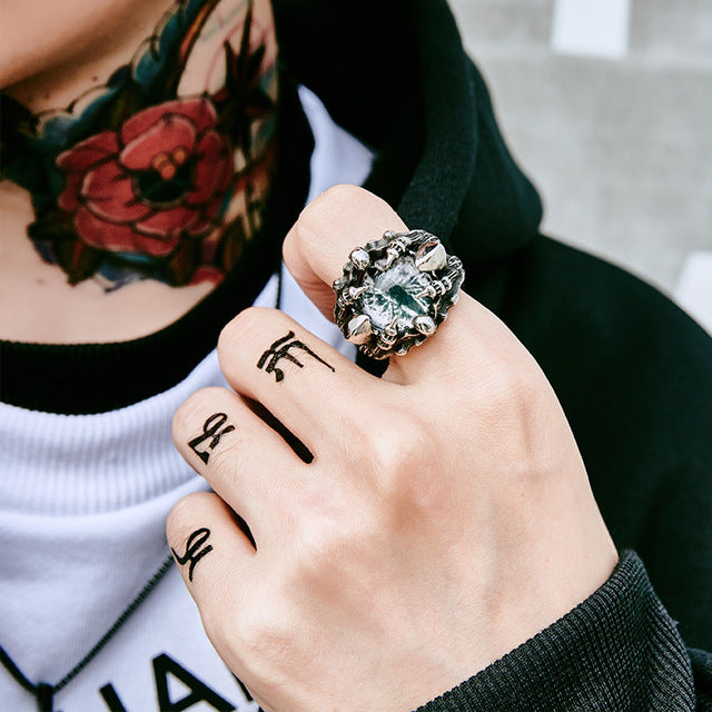 Evil Stone Punk Rock Claw Zircon Eye Biker Ring