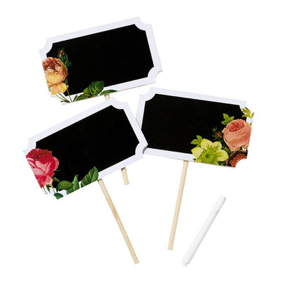 Small Chalk Board signs with floral designs and piece of chalk