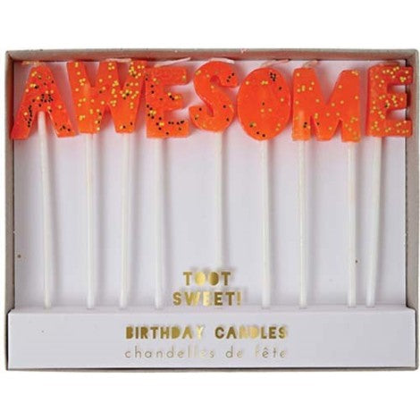 Party Candle that says Awesome
