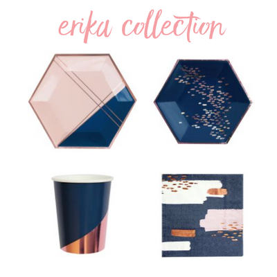Erika Party Collection with large plates, small plates, cups and napkins