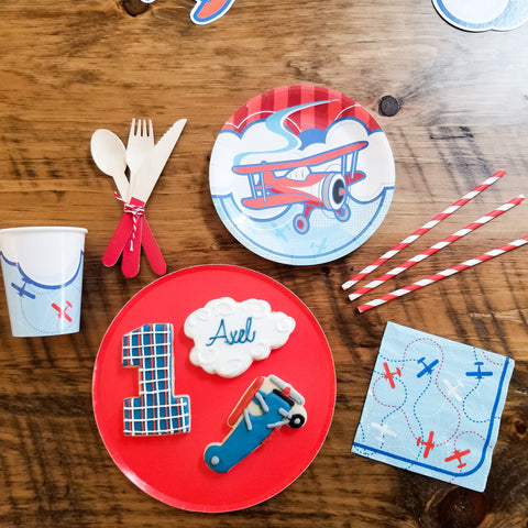vintage airplane tablescape