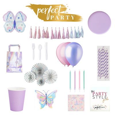 Butterfly Vision board for A perfect Party, in shades of pink and purple