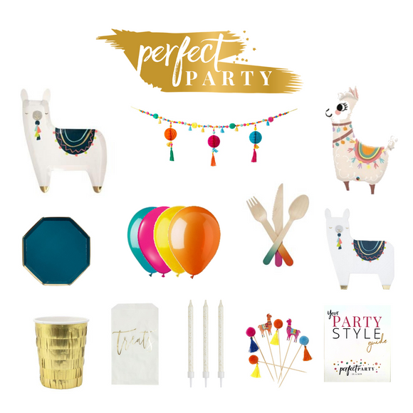 Llama Party in a Box vision board with Boho items and colours