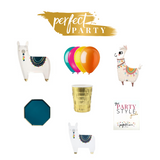 Petite Boho Llama Party In a Box vision board with gold, teal and Boho colours