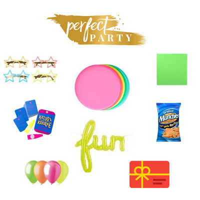Vision Board for Family Fun Night, including multiple party decor items and tableware. Neon colours