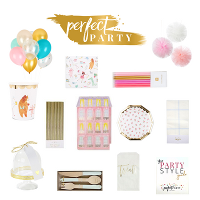 Lola Dutch Party Box, vision board. Full of party items and balloons in shades of pinks, blues and gold