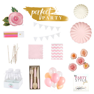 Garden Party vision board. Pinks, creams and floral elements.