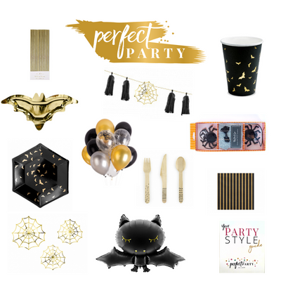 Gone Batty for Halloween Party vision board. A collection of halloween decor and party items