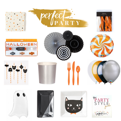Happy Halloween Party in box vision board. Halloween party decor and party essentials