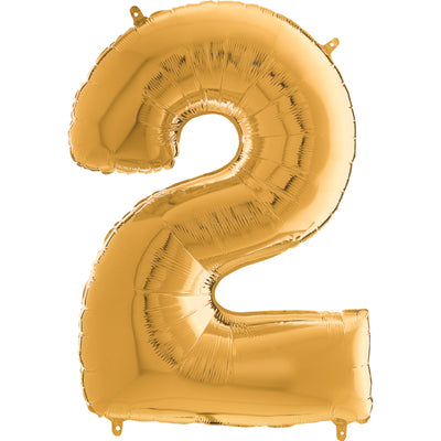 gold foil number 2 jumbo balloon filled with helium