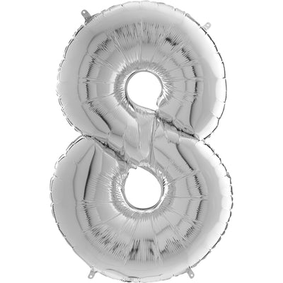 Silver number 8 foil balloon filled with helium