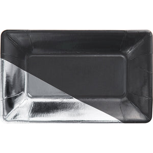 Silver and Charcoal  Rectangle Party Plates