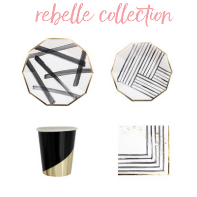 Rebelle Collection Party Essentials. Modern Gold and Black