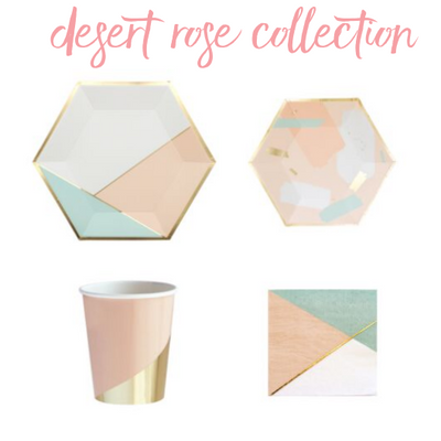 Desert Rose Collection of Party essentials, plates, cups and napkins