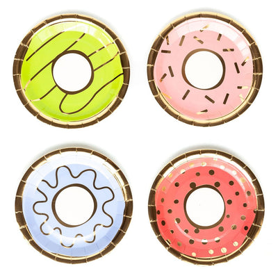 Donut Shaped plates, in green, pink, blue and red. 4 different designs with gold foil. Party Essential for Perfect party In a box