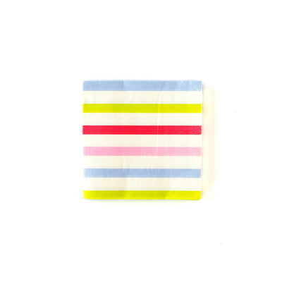 Cocktail napkins, striped blue, white, green, red and pink. Party Decor