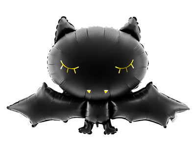 Jumbo black bat balloon with gold foil detail