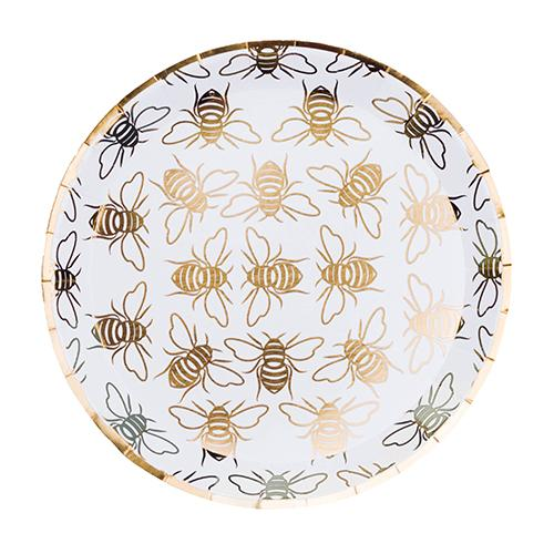 White and gold foil Bee party plates for a summer garden event or baby shower