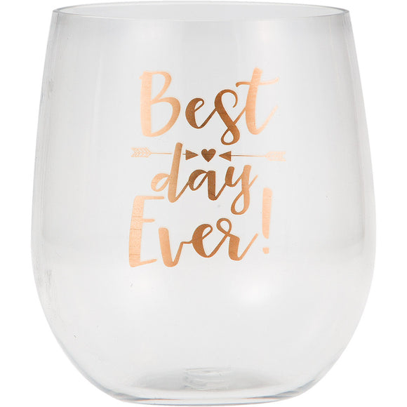 Perfect Party in a Box Best Day Ever Stemless Wine Glass Party Decor