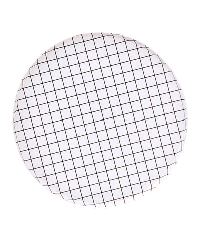 White and Black Grid Party Paper Plate