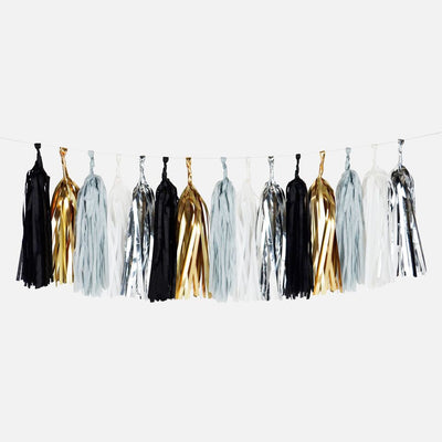 Tassel Garland with Black, Gold, Grey and Silver Tassels