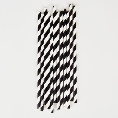 black and white striped paper straws