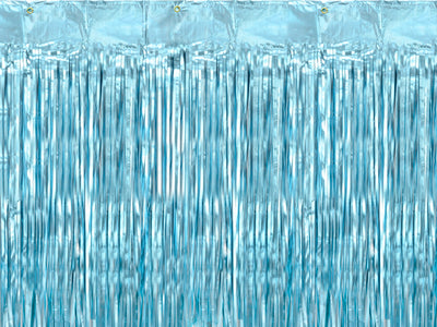 Blue metallic party fringe curtain