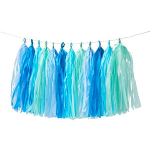 Green and Blue tissue tassel garland