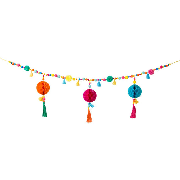 Bright coloured Boho Garland with beads, tassels and honeycomb details. A perfect party garland for you next boho themed event.