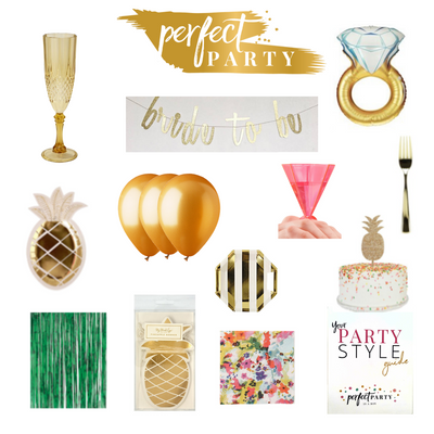 Perfect Party Vision Board with Pineapple Party Supplies and Decor Items