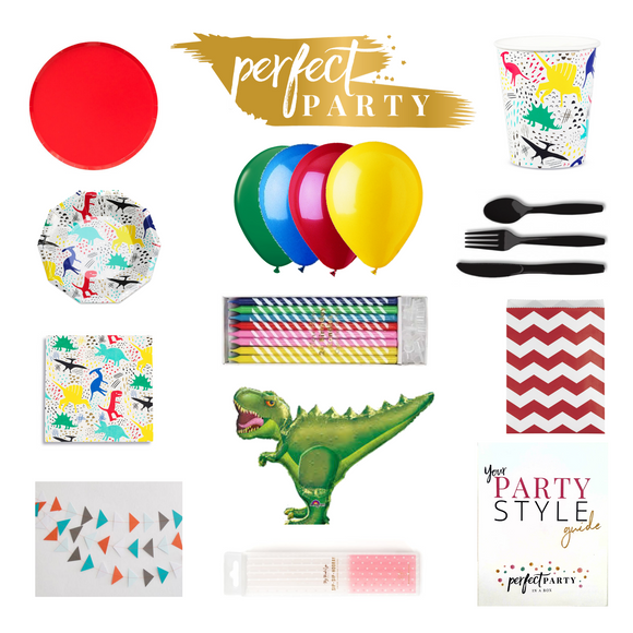 Dinosaur Party Vision Board with Party essentials and decor