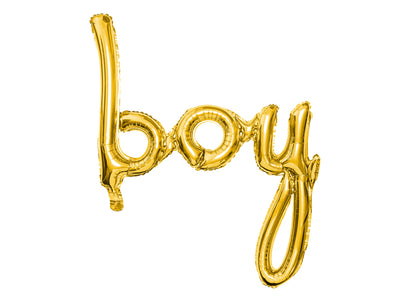 gold script boy balloon