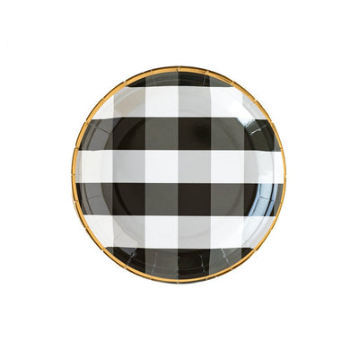 Black Buffalo Check Plates with Gold Rim, party essentials