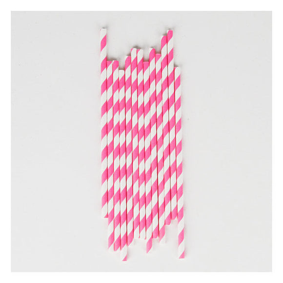 Candy Pink Striped Straws